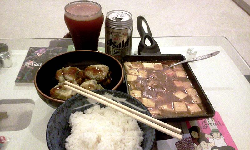 麻婆豆腐と茄子の肉詰め天